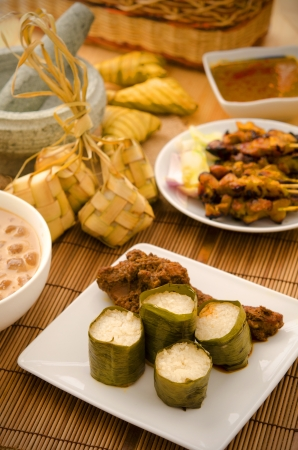 malay hari raya foods  lemang ,focus on lemang  photo