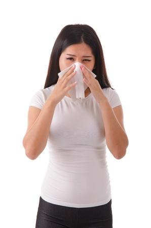 contagion: asian girl flue on white background Stock Photo