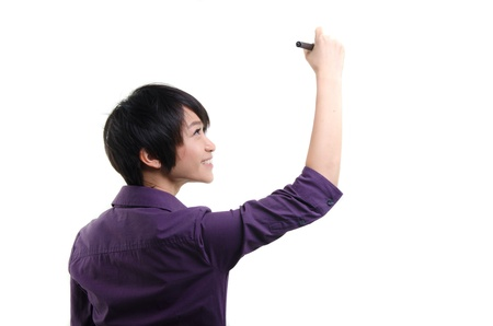 writing on glass: asian girl drawing on white background