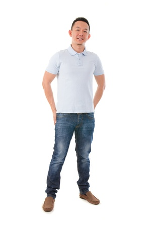korean man: asian male casual in full body, isolated on white Stock Photo