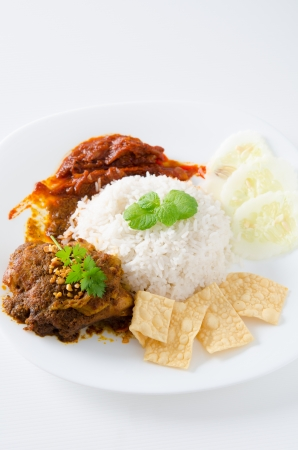 keropok: nasi lemak on white