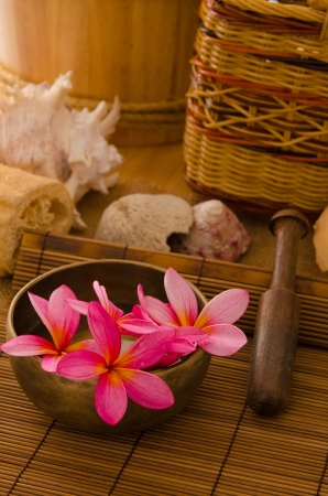 low relief: tropical spa setup with  frangipani flower Stock Photo