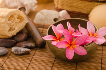 tropical spa setup with  frangipani flower Stock Photo