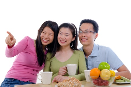 asian family dining iwht isolate white background photo