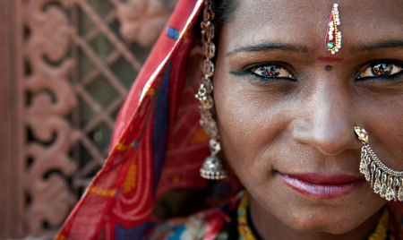 Portrait of a India Rajasthani woman close up  photo