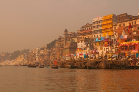 ganges: Ghats in ancient city of Varanasi, India  Stock Photo