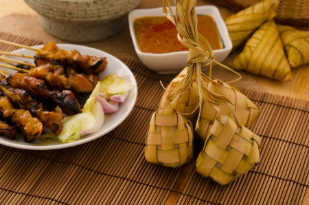 indonesian food: Ketupat: South East Asian rice cakes bundle, often prepared for festivities and celebratory occasions.