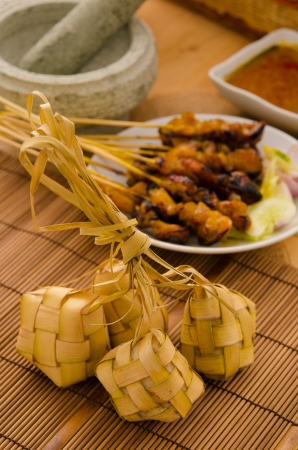 often: Ketupat: South East Asian rice cakes bundle, often prepared for festivities and celebratory occasions.