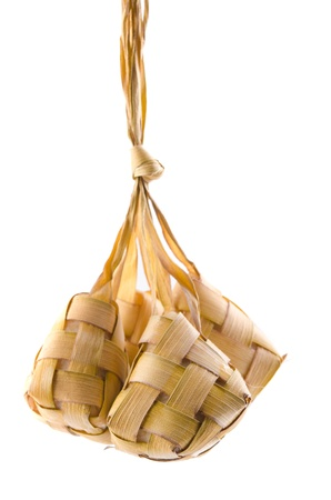 compressed rice: ketupat isolated in white