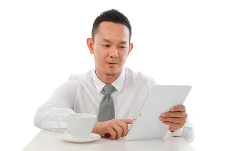 asian male with a generic tablet photo