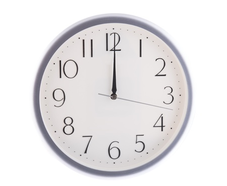 oclock: isolated white clock at 12 Stock Photo