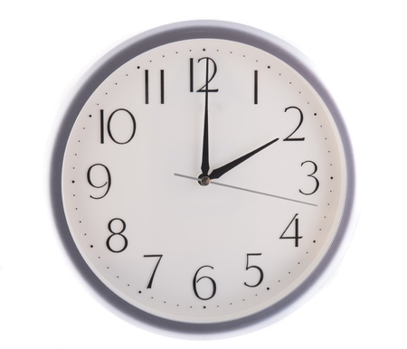 pm: isolated white clock at 2