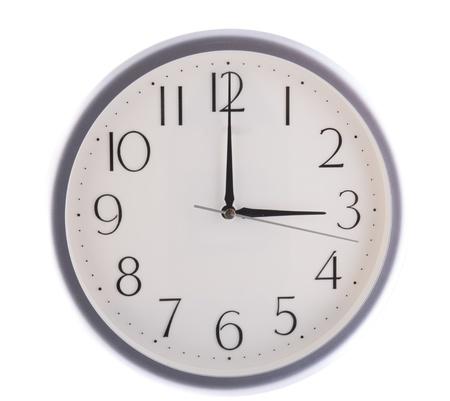 oclock: isolated white clock at three