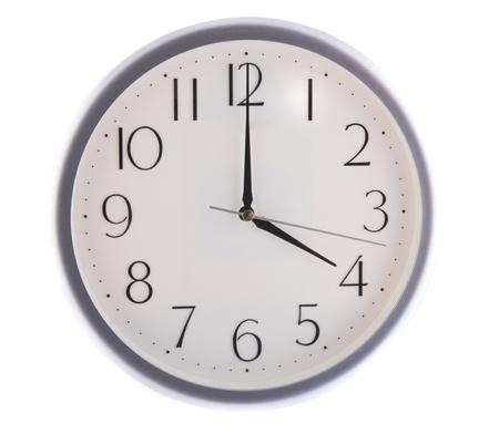 oclock: isolated white clock at 4