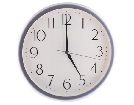 oclock: isolated white clock at five