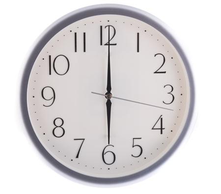 oclock: isolated white clock at six