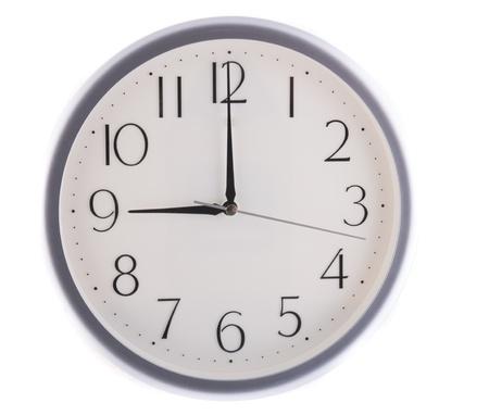 oclock: isolated white clock at nine