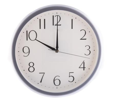 oclock: isolated white clock at  ten Stock Photo