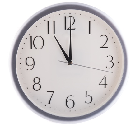 break time: isolated white clock at eleven