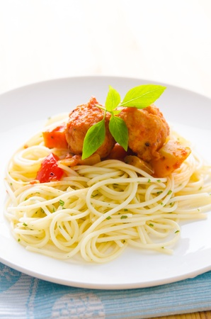 tasty looking spaghetti bolognese  photo