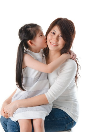 asian mother and daughter: Asian mother and her daughter on white background, perfect for mothers day  Stock Photo