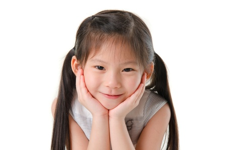 mixed races: close up photo of cute little asian girl Stock Photo
