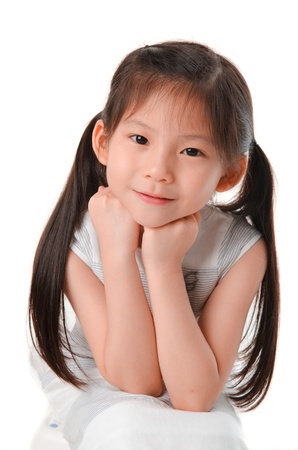 chin: close up photo of cute little asian girl Stock Photo
