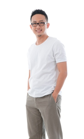 khakis: casual confident looking asian male