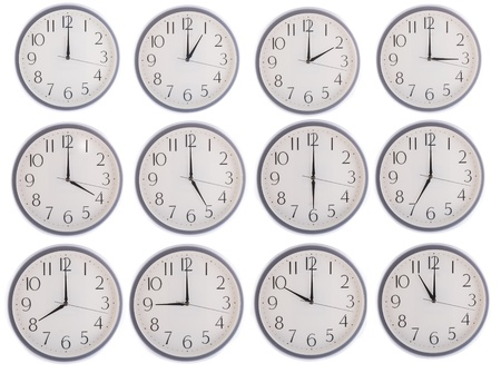 oclock: collection of clock from 12 to 11 isolated in white background