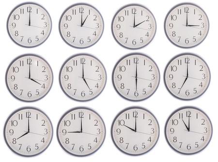 collezione di orologio 12-11 isolati in sfondo bianco Archivio Fotografico