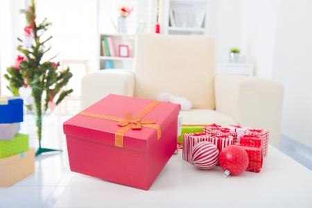 Closeup photo on table  Christmas decorations Stock Photo - 16323583