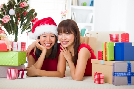 asian friend lifestyle christmas photo, close up on face Stock Photo - 16323380