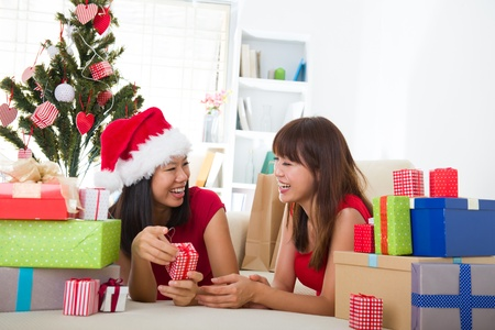 asian friend lifestyle christmas photo, close up on face Stock Photo - 16323375