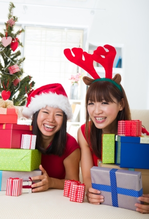 asian friend lifestyle christmas photo, close up on face Stock Photo - 16323461