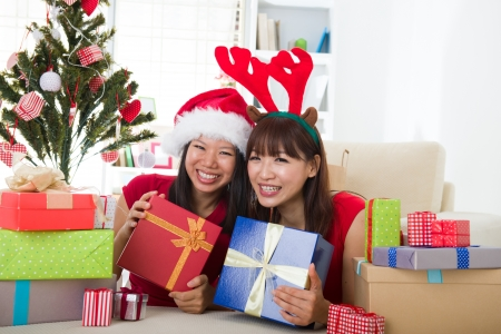 asian friend lifestyle christmas photo, close up on face Stock Photo - 16323392