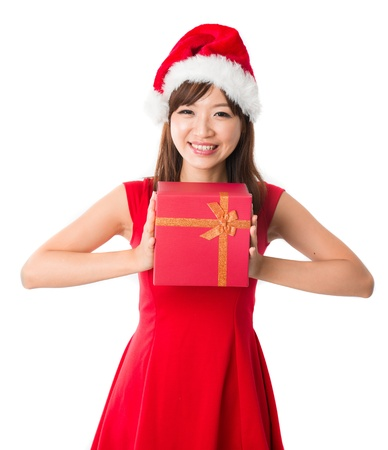 asian girl with a single present box during christmas,isolated on white Stock Photo - 16323467