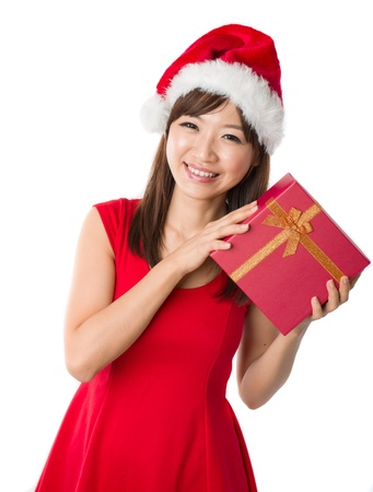 asian girl with a single present box during christmas,isolated on white Stock Photo - 16323505