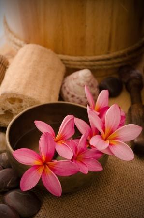tropical spa setup with frangipani flower Stock Photo - 16323598