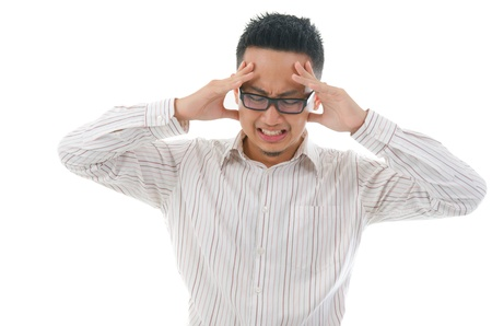 asian business male having a bad headache photo
