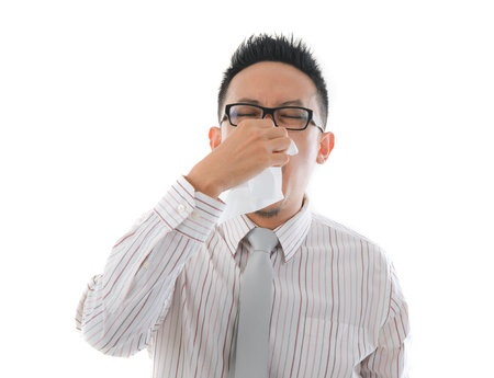 asian business man having a sick flu  photo