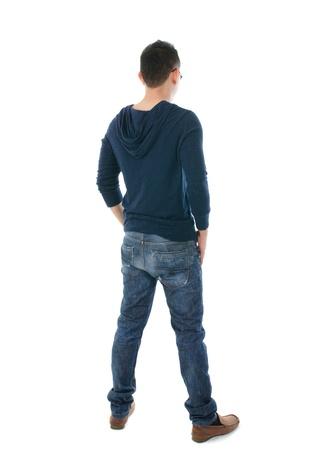 back shot: asian man full body, shot from back