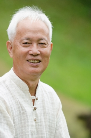 senior asian man outdoor portrait  photo