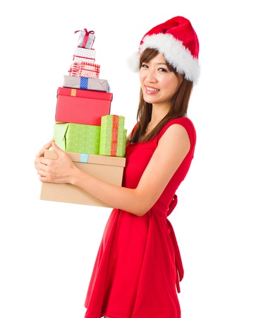 beautiful asian girl with plenty of gifts during christmas Stock Photo - 16711355