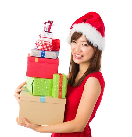 beautiful asian girl with plenty of gifts during christmas Stock Photo - 16711358