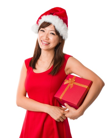 asian girl with a  present box during christmas,isolated on white Stock Photo - 16711367