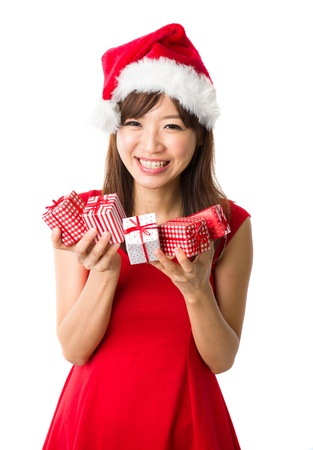 asian girl with a  present box during christmas,isolated on white Stock Photo - 16711335