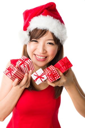 asian girl with a  present box during christmas,isolated on white Stock Photo - 16711294
