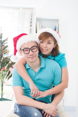 asian couple lifestyle celebration christmas photo, south east asian Stock Photo - 16711309