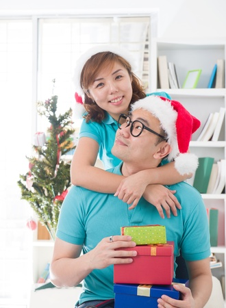 asian couple lifestyle celebration christmas photo, south east asian Stock Photo - 16711305