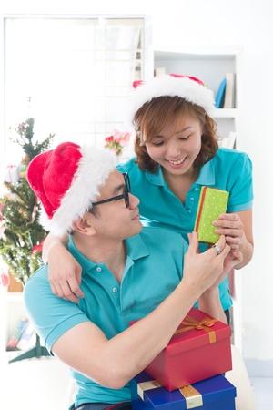 asian couple lifestyle celebration christmas photo, south east asian Stock Photo - 16711302